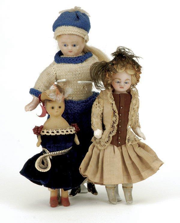 628: Lot: 3 Small German Wax Dolls