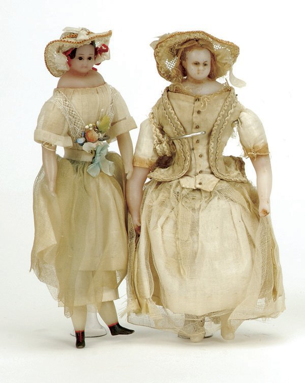 630: Pair of Poured Wax Dolls