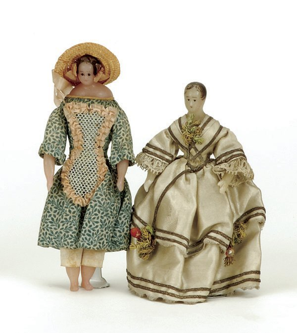 631: Small Pair of Poured Wax Dolls