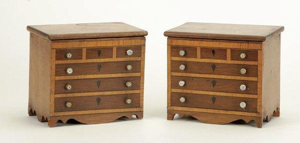 638: Pair of Victorian Satinwood and Mahogany Miniature