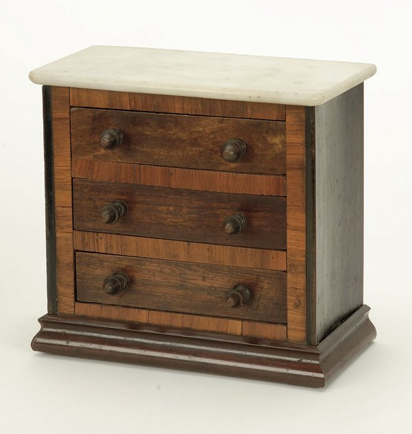 640: Victorian White Marble Top Rosewood Miniature Ches