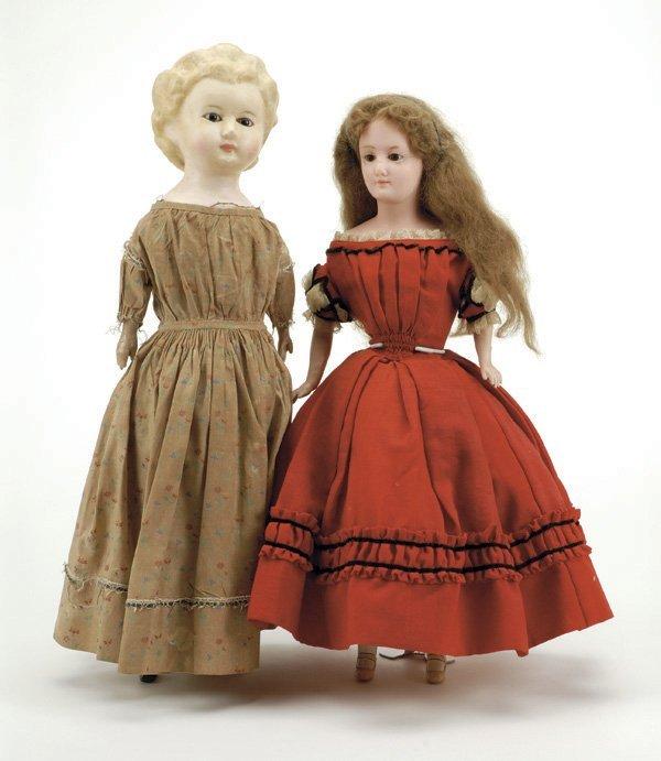 641: Lot: 2 German Wax Over Paper Mache Dolls