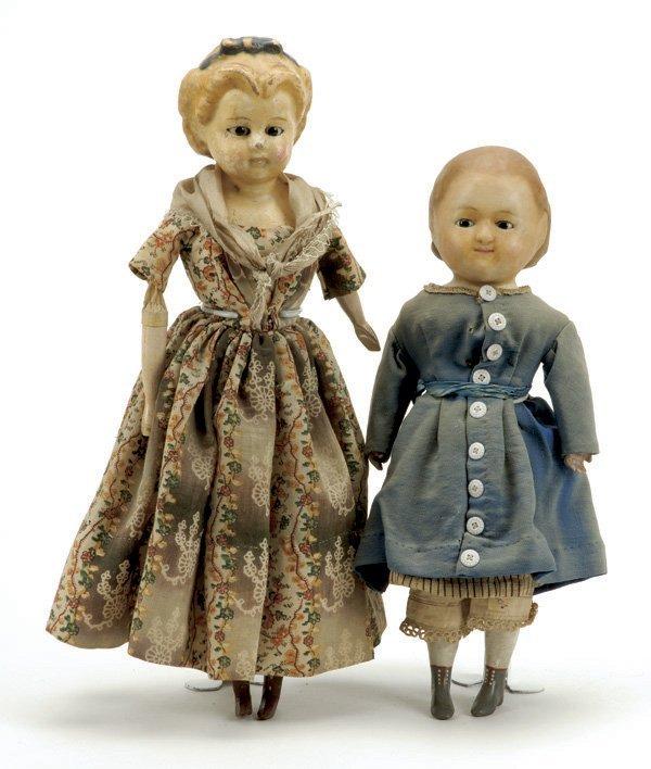 642: Lot: 2 German Wax Over Paper Mache Dolls
