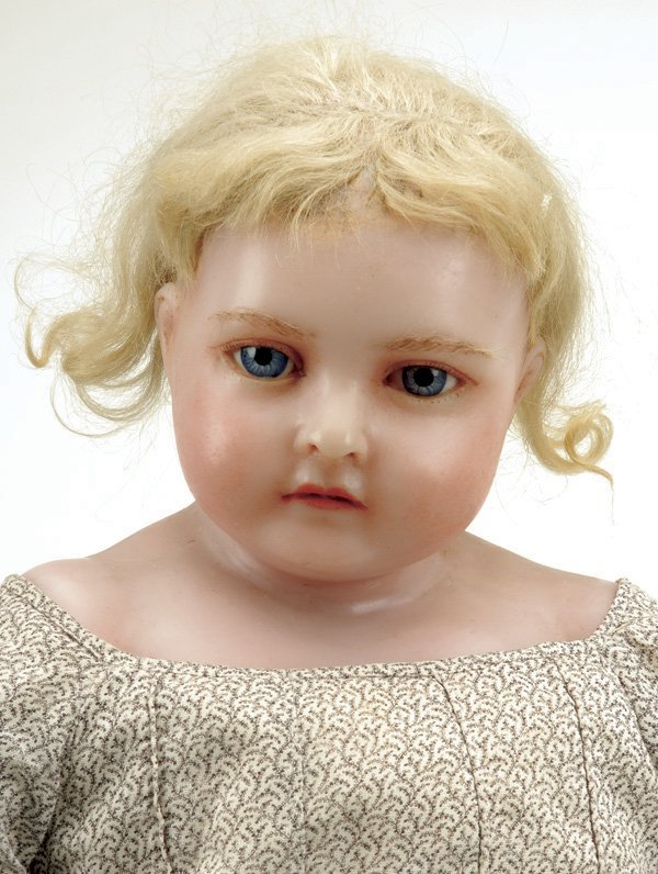 645: Large English Poured Wax Child with Inset Hair