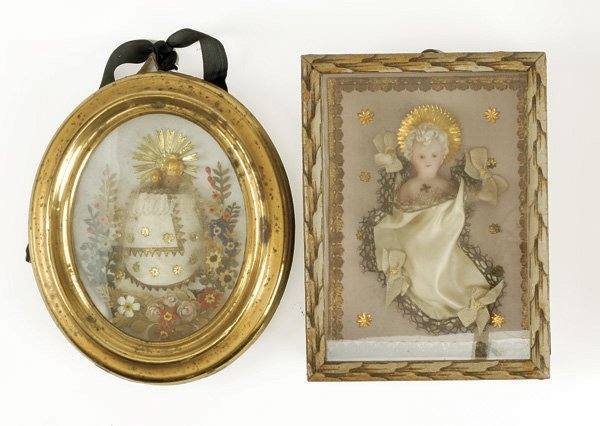 646: Lot: 2 Framed Wax Religious Figures
