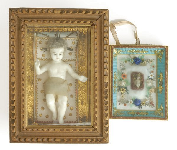 647: Lot: 2 Framed Wax Religious Figures
