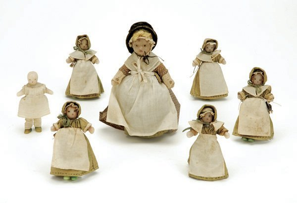 648: 7 Piece Set of English Wax School Figures