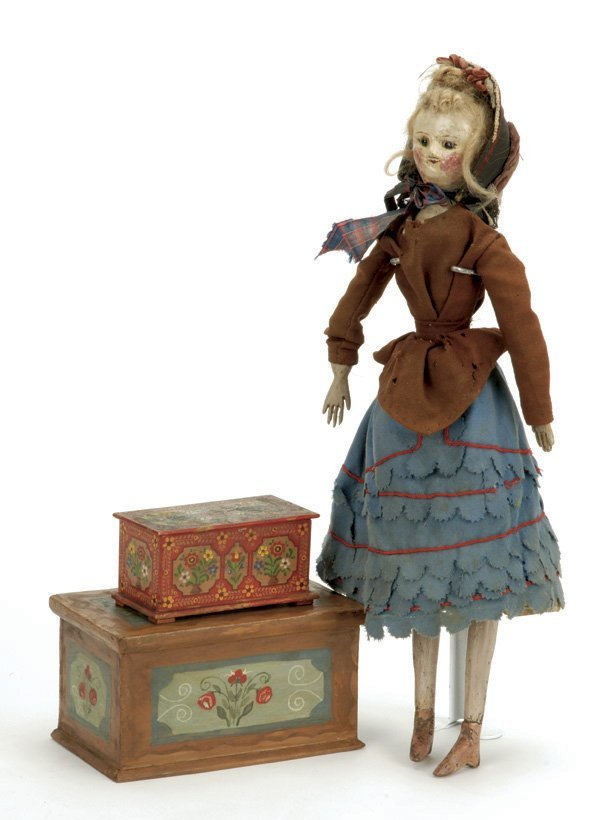 891: Folk Art Wooden Doll with 2 Chests