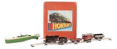 Hornby O gauge train set and clockwork speedboat