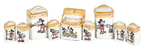 Scarce porcelain Mickey Mouse nine-piece canister