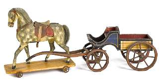 Painted wood horse and wagon pull toy