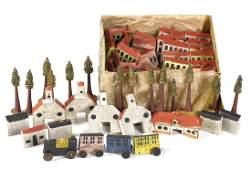 Nuremberg carved and painted wood toy village
