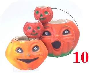 Lot: 4 Closed Mouth Jack-O'-Lanterns