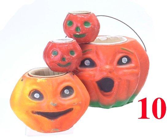 10: Lot: 4 Closed Mouth Jack-O'-Lanterns