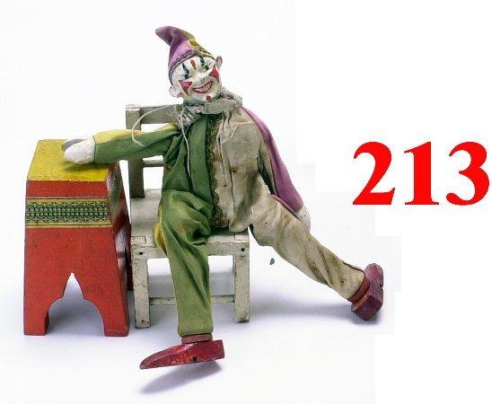 213: Schoenhut Clown  with Chair & Pedestal