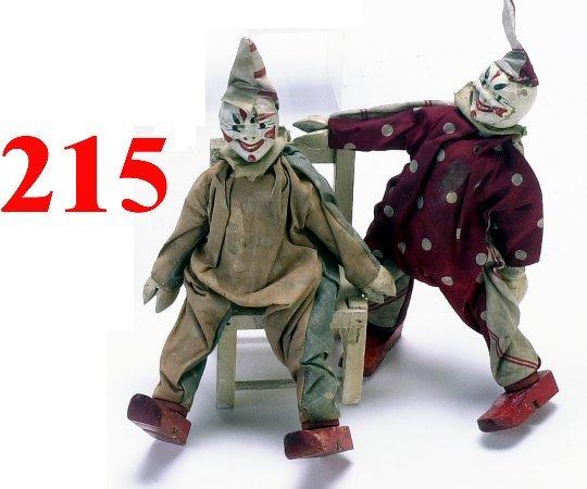 """215: Lot: 2 Schoenhut """"Earless"""" Clowns"""