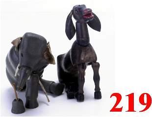 Lot: Schoenhut Glass Eyed Donkey, Elepha