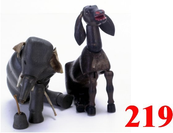 219: Lot: Schoenhut Glass Eyed Donkey, Elepha