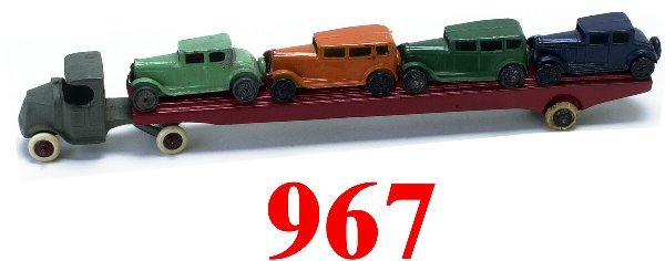 967: Tootsietoy Car Carrier with 4 cars