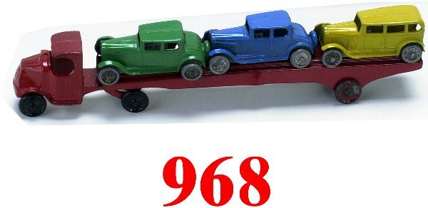 968: Tootsietoy Car Carrier with 4 cars