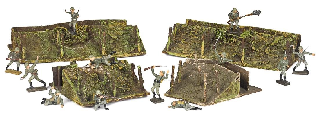 Lineol painted composition soldiers and trenches