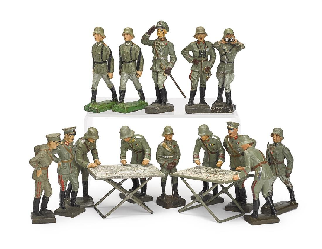 Lineol painted composition command soldiers