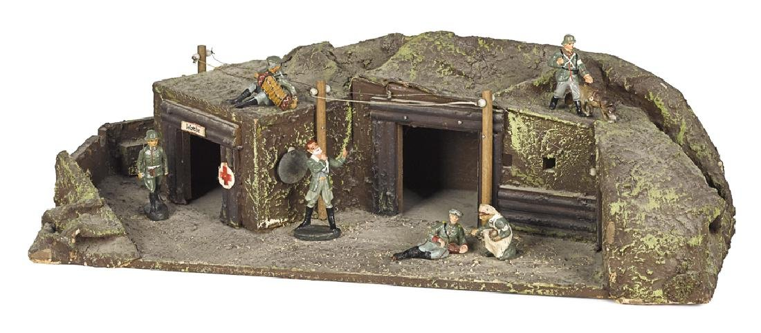 German painted wood and composition trench