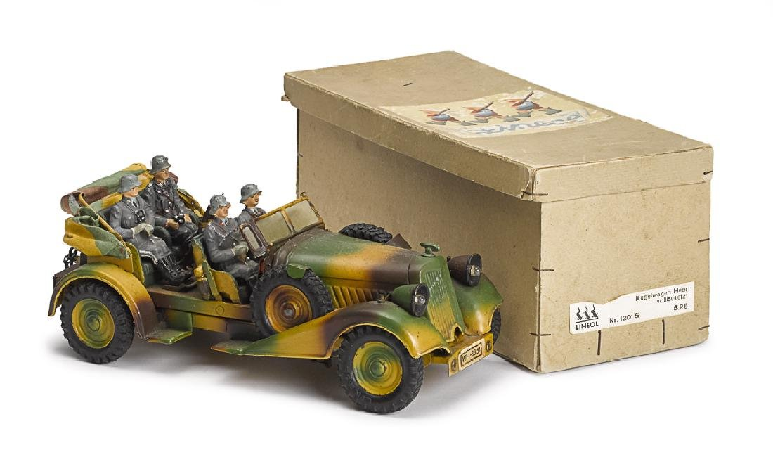 Lineol camouflage painted tin clockwork staff car
