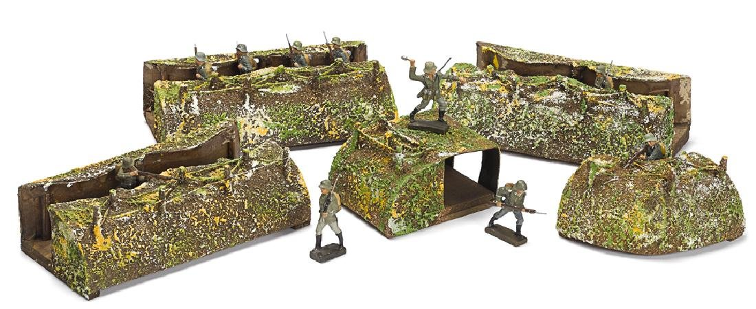 Lineol painted wood and paper trenches