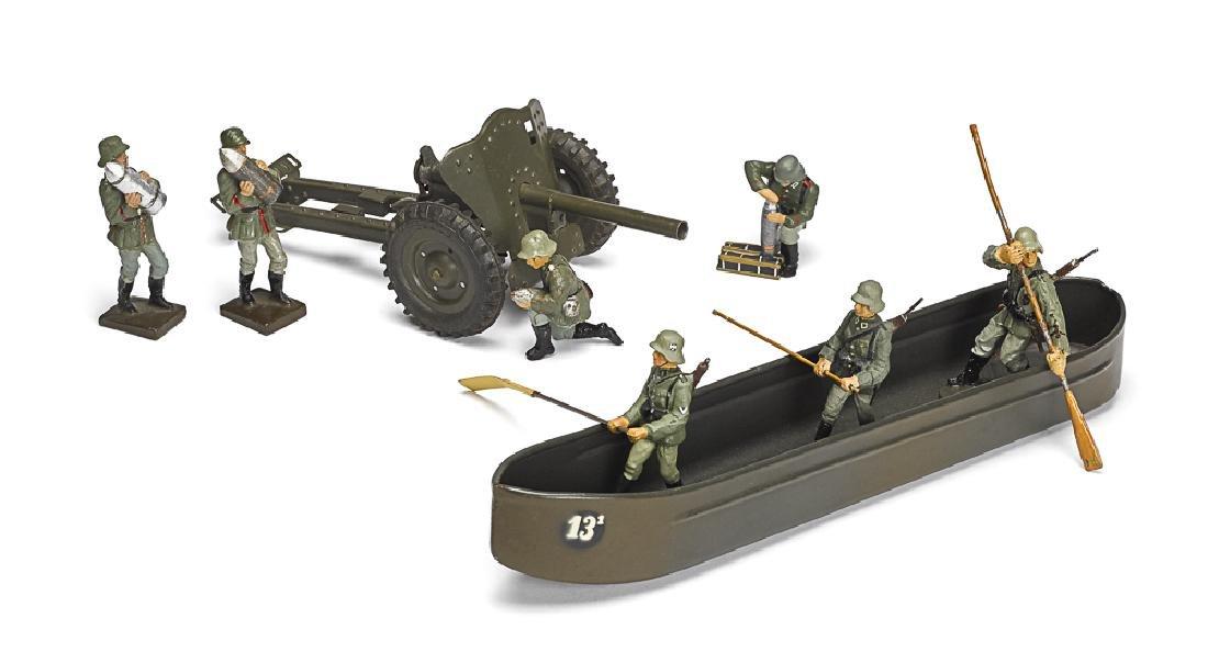 German painted tin pontoon field gun soldiers