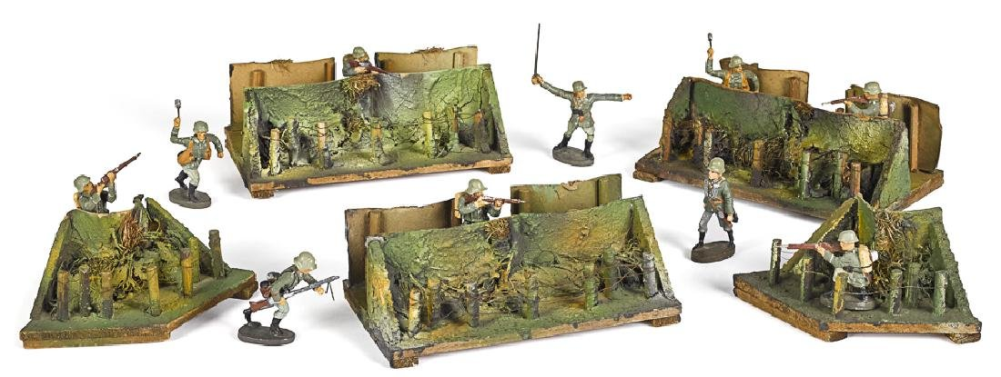 Elastolin painted wood & paper trenches & soldier