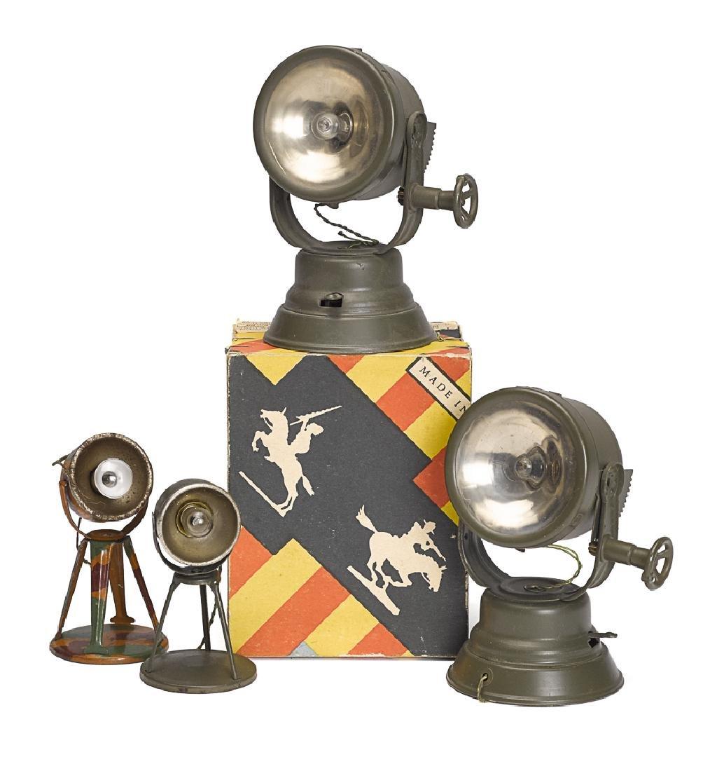 Four Elastolin painted tin searchlights