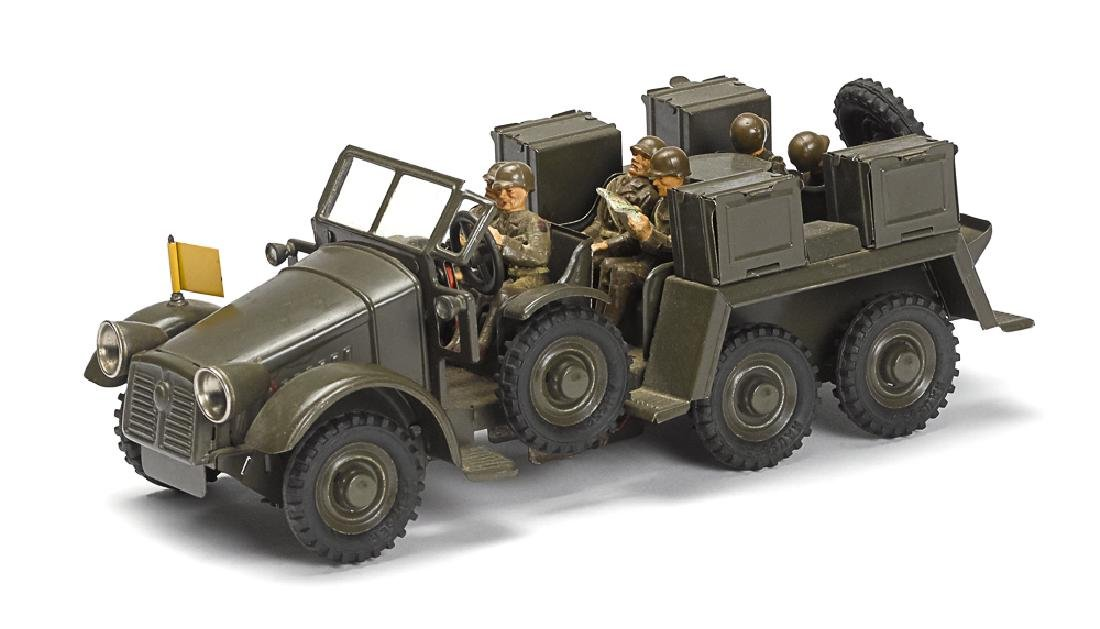 Hausser painted tin clockwork troop transport