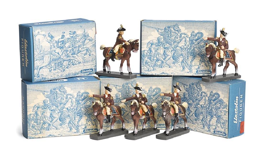 Five Elastolin painted George Washington figures