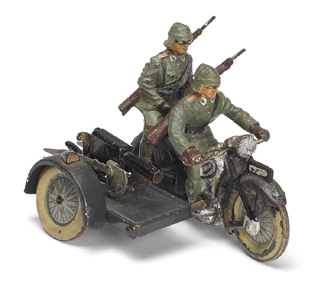 Painted tin and composition military motorcycle