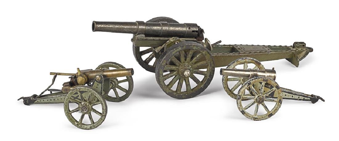 Three Marklin iron and steel field guns