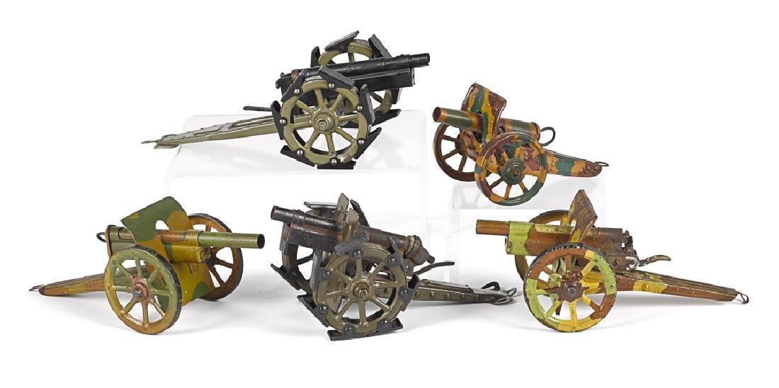 Five German lithographed tin field guns