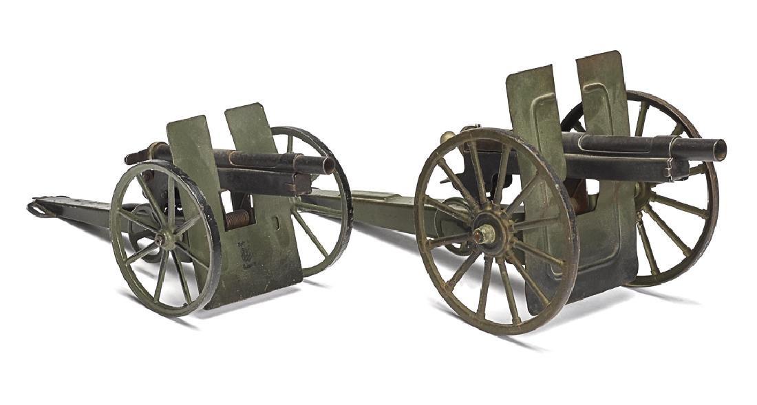 Two Marklin painted tin field guns