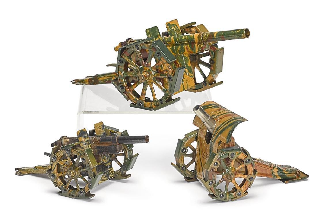 Three Marklin camouflage painted tin field guns