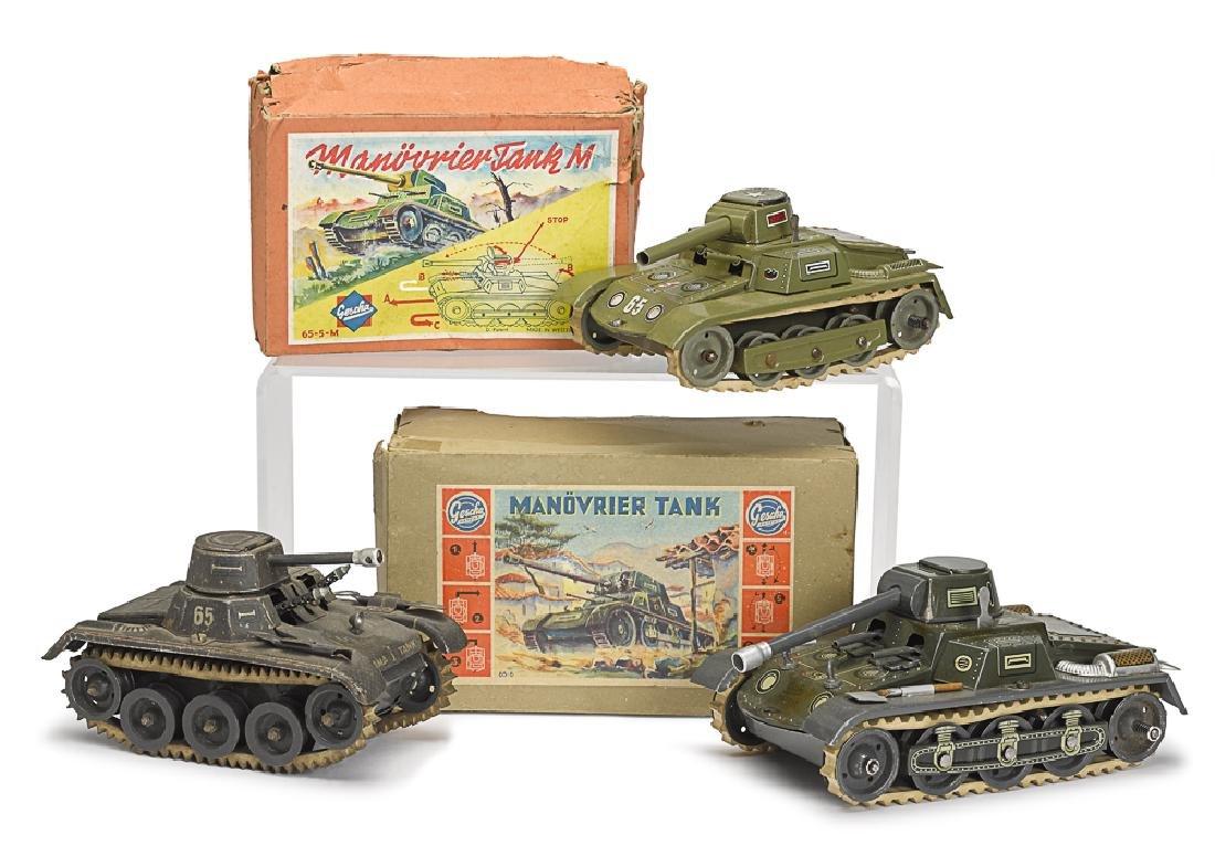 Three tin lithograph clockwork German tanks