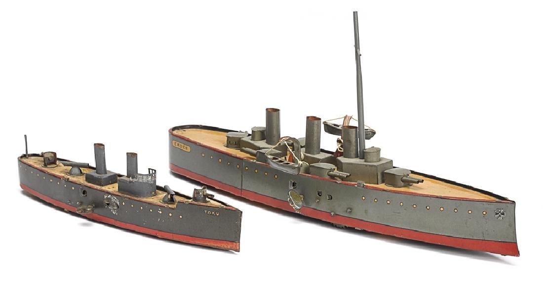 Two Lehmann tin lithograph clockwork warships