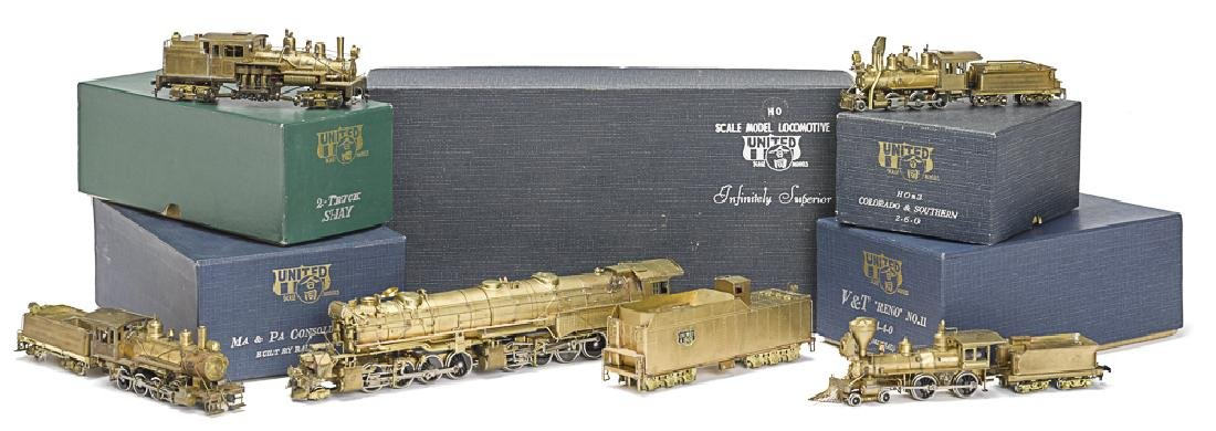 Five United Scale models brass HO train engines