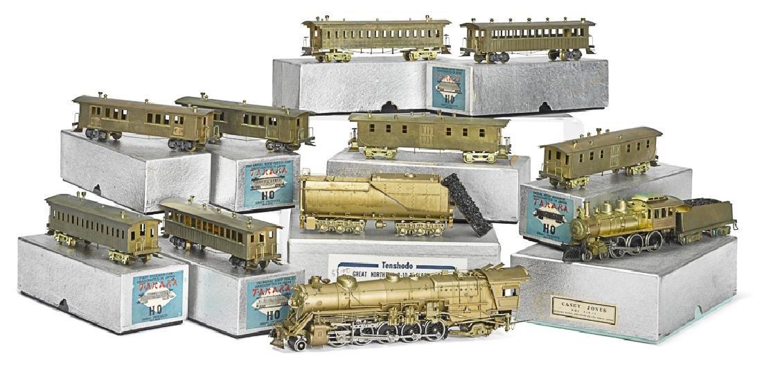 Ten-piece Tenshodo brass train locomotive & cars