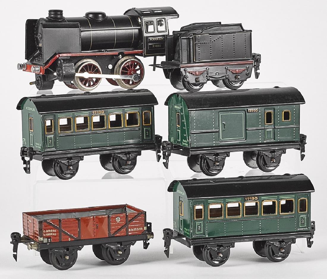 Marklin six-piece painted tin clockwork train set