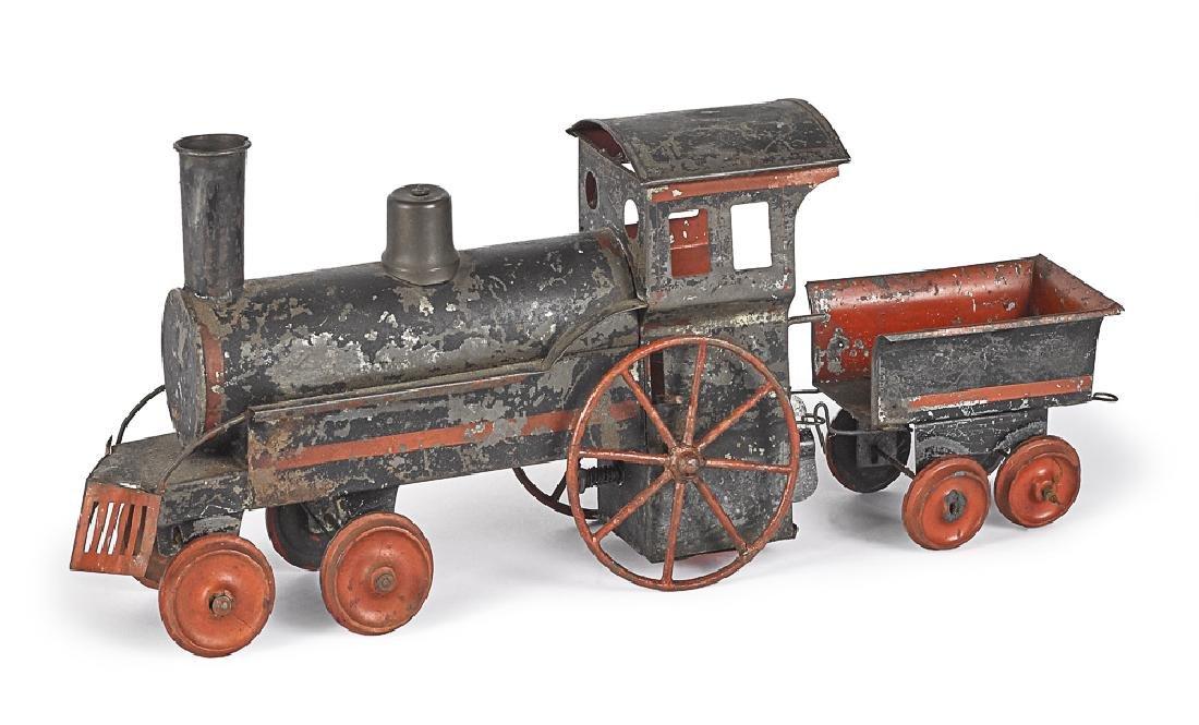 Early German tinplate clockwork train locomotive