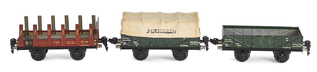 Three Marklin painted tin train cars