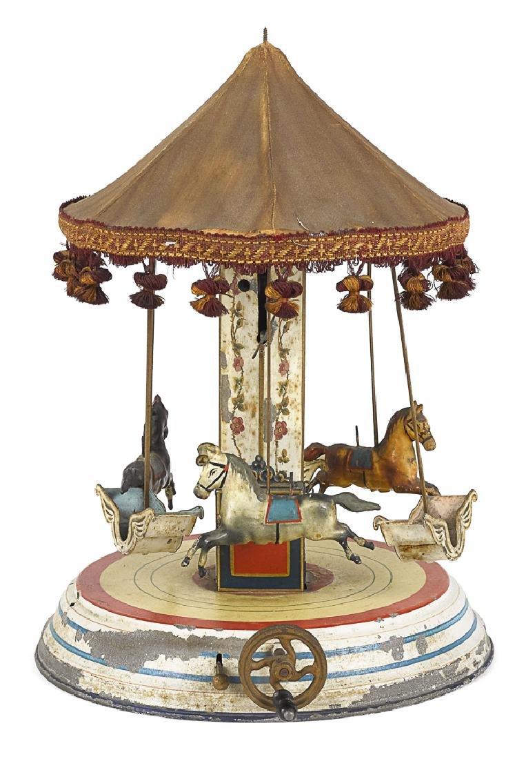 Marklin painted tin clockwork musical carousel