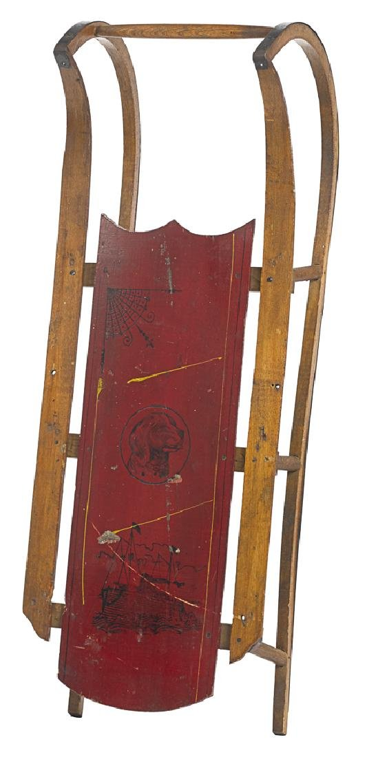 Child's painted wood sled, early 20th c.
