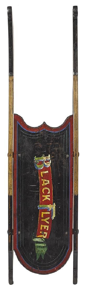 Child's Black Flyer painted wood sled