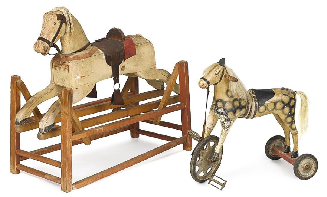Unusual painted wood articulated horse tricycle